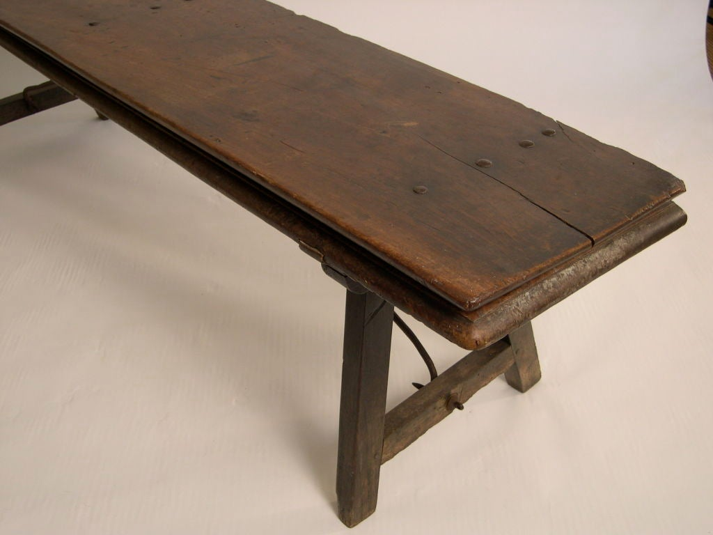18th Century Spanish Walnut And Wrought Iron Folding Bench At 1stdibs