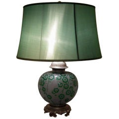A Large Art Deco Period Acid Etched Glass Lamp by Daum