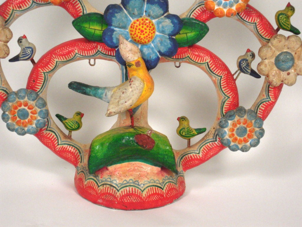 "Alfonso Castillo Mexican Pottery ""Tree of Life"" Candelabra 2"