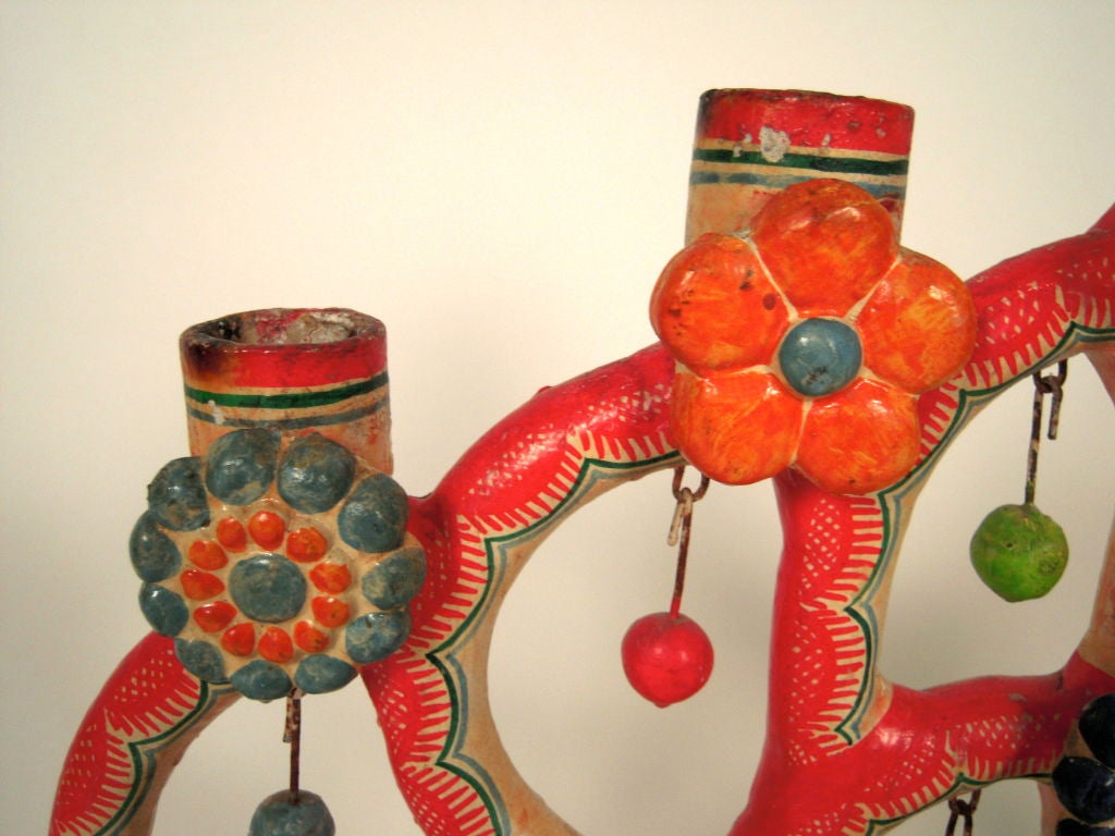 """Alfonso Castillo Mexican Pottery """"Tree of Life"""" Candelabra For Sale 1"""