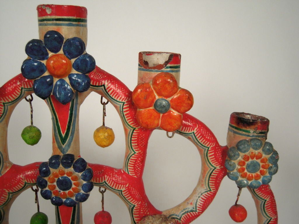 """Alfonso Castillo Mexican Pottery """"Tree of Life"""" Candelabra For Sale 2"""
