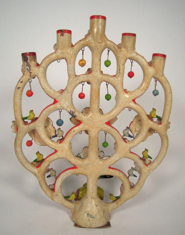 """Alfonso Castillo Mexican Pottery """"Tree of Life"""" Candelabra For Sale 3"""