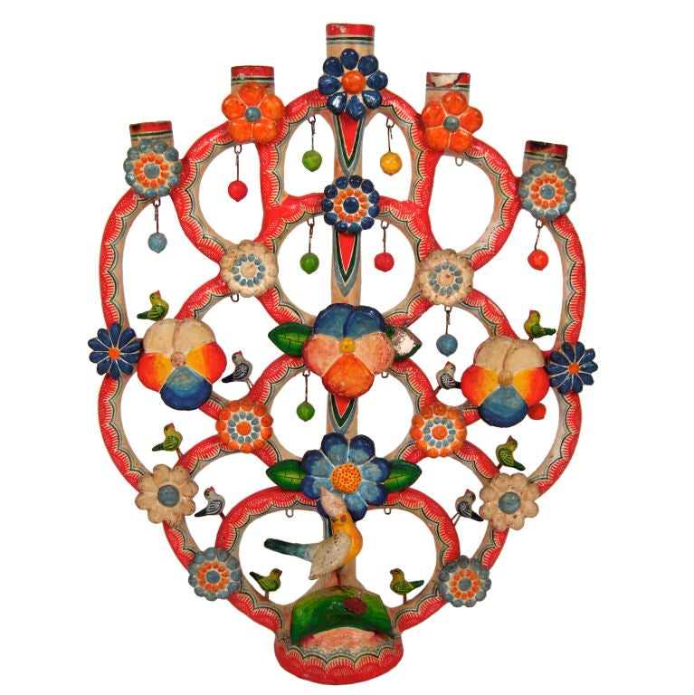 "Alfonso Castillo Mexican Pottery ""Tree of Life"" Candelabra For Sale"