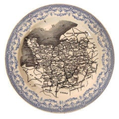 Transferware China Plate with Map of Northern France