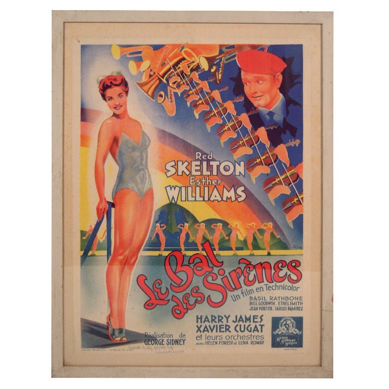 French Movie Poster for Hollywood Movie Bathing Beauty For Sale