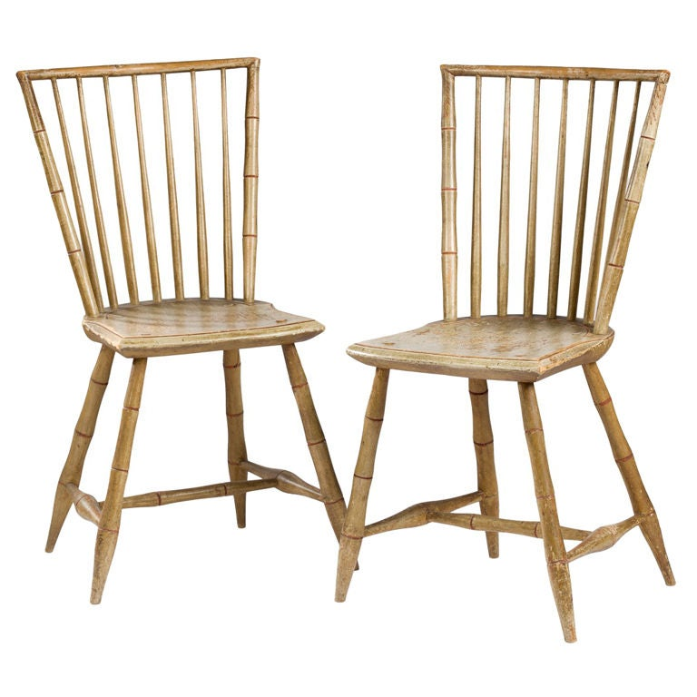 Bamboo Turned Chair: Pair Of Federal Period Painted 'Bamboo' Rod Back Windsor
