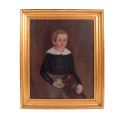 19th C American Portrait Painting of Boy with His Dog and Book