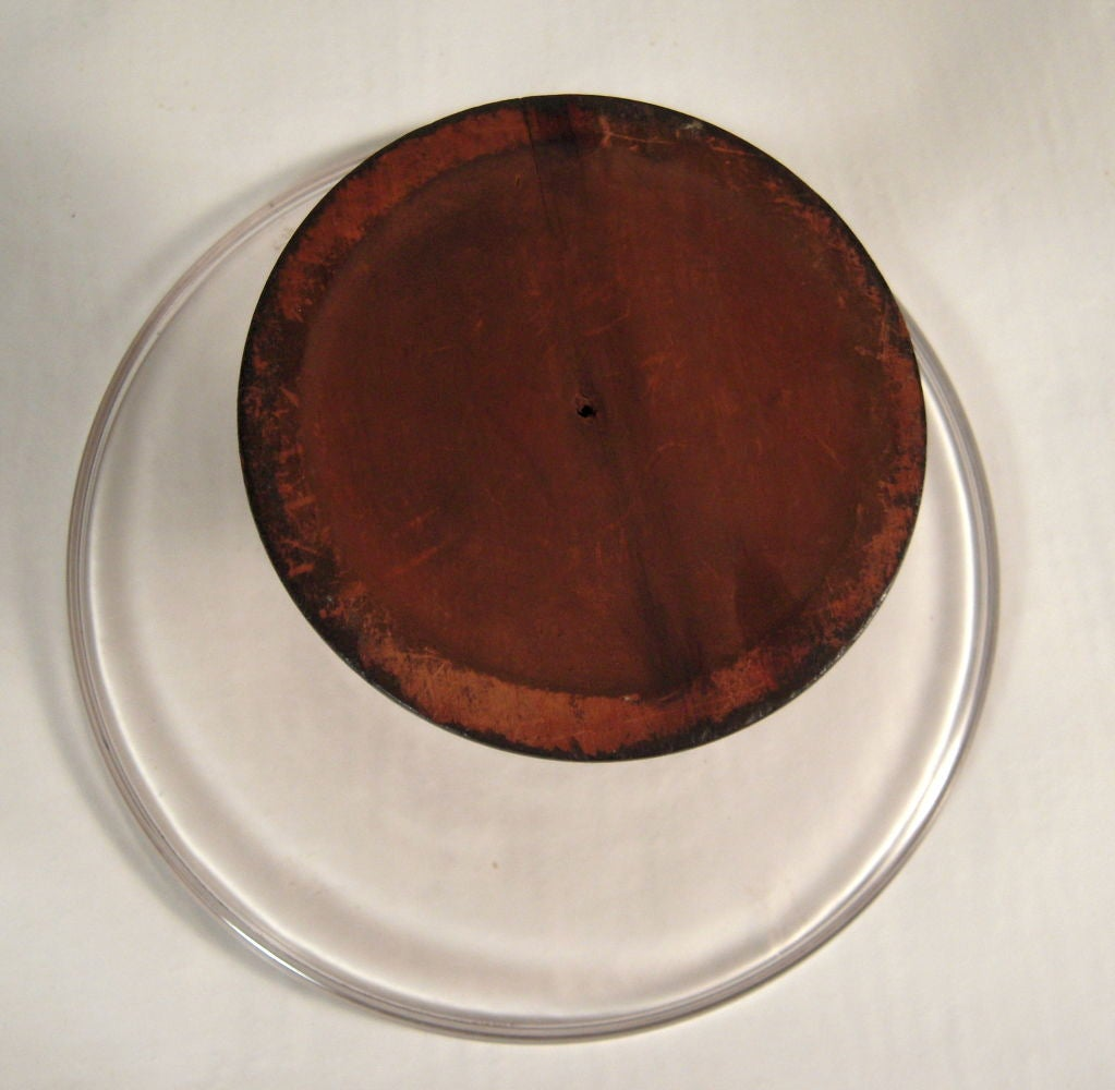 "Rare 19th C Large ""Make Do"" Glass and Wood Cake Stand at 1stdibs"
