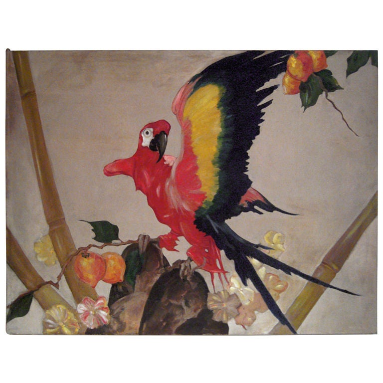 Large Decorative Scarlet Macaw Parrot Painting by Stark Davis