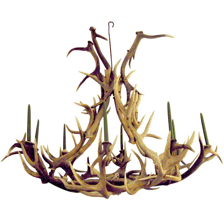 Vintage Large Elk Antler Chandelier At 1stdibs
