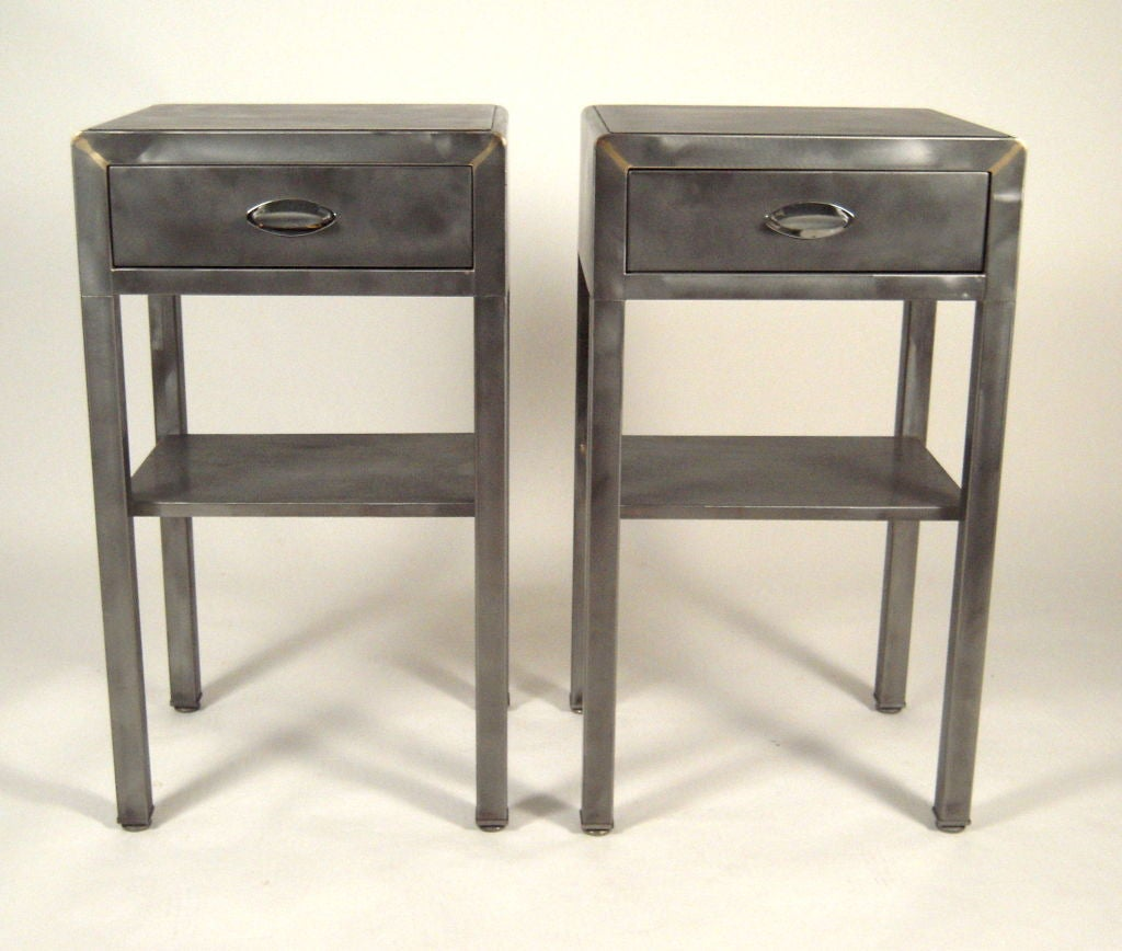 Pair Of 1940s Steel End Tables Or Night Stands At 1stdibs. Full resolution  image, nominally Width 1024 Height 868 pixels, image with #8C753F.