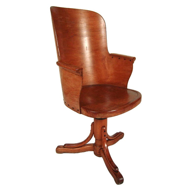 Unusual Stylish Bentwood Office Chair At 1stdibs