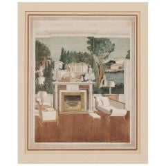 Watercolor Rendering of a Neoclassical Interior