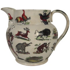 Unusual Large Staffordshire Animal Decorated Pitcher, c. 1860