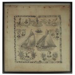19th Century America's Cup Printed Handkerchief