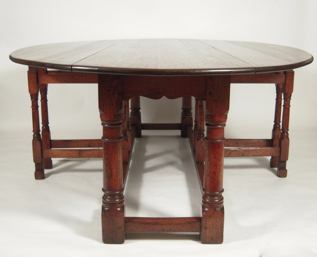 Exceptionally Large English Oval Drop Leaf Hunt Dining Table Image 3