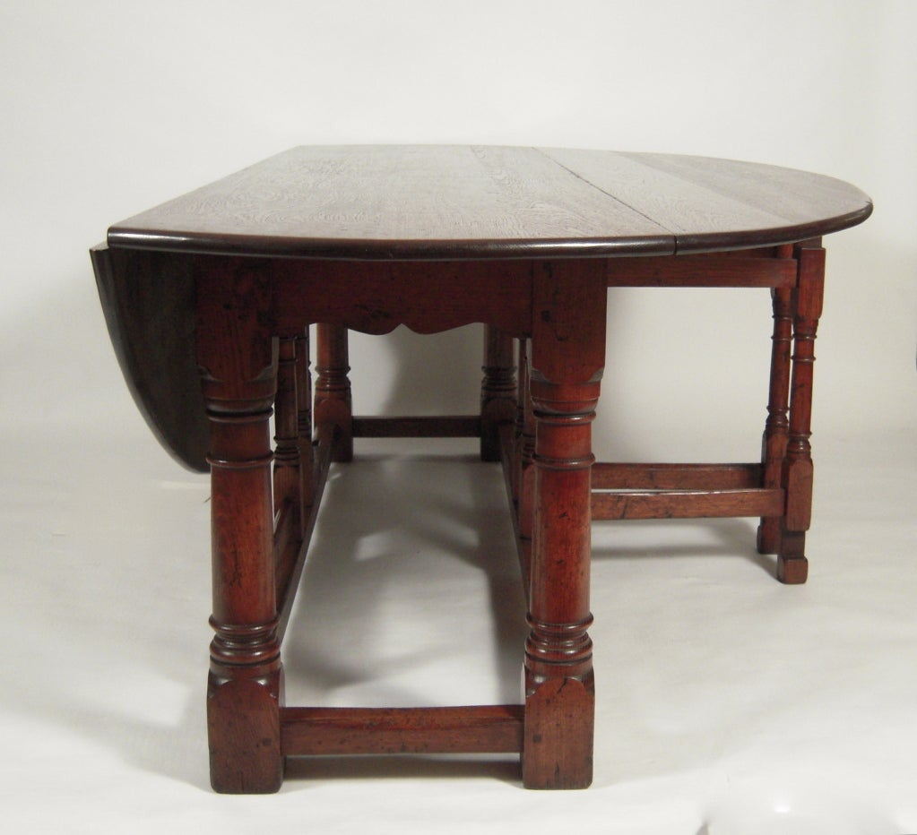Exceptionally Large English Oval Drop Leaf Hunt Dining Table Image 4