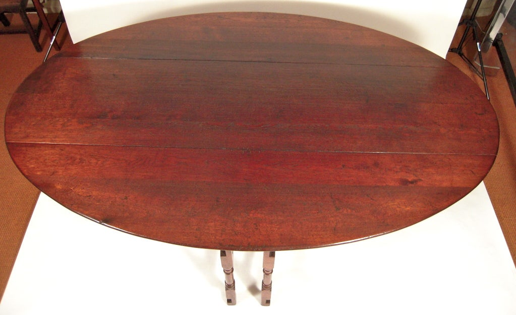 Exceptionally Large English Oval Drop Leaf Hunt Dining Table Image 6