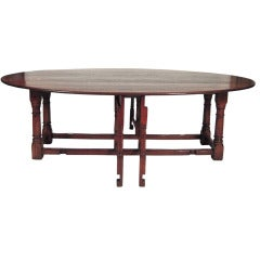 Exceptionally Large English Oval Drop Leaf Hunt Dining Table