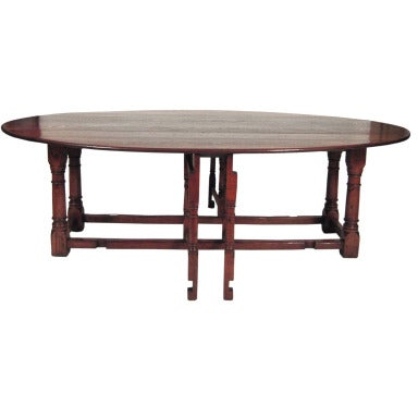 Large English Oval Drop Leaf Hunt Dining Table At 1stdibs