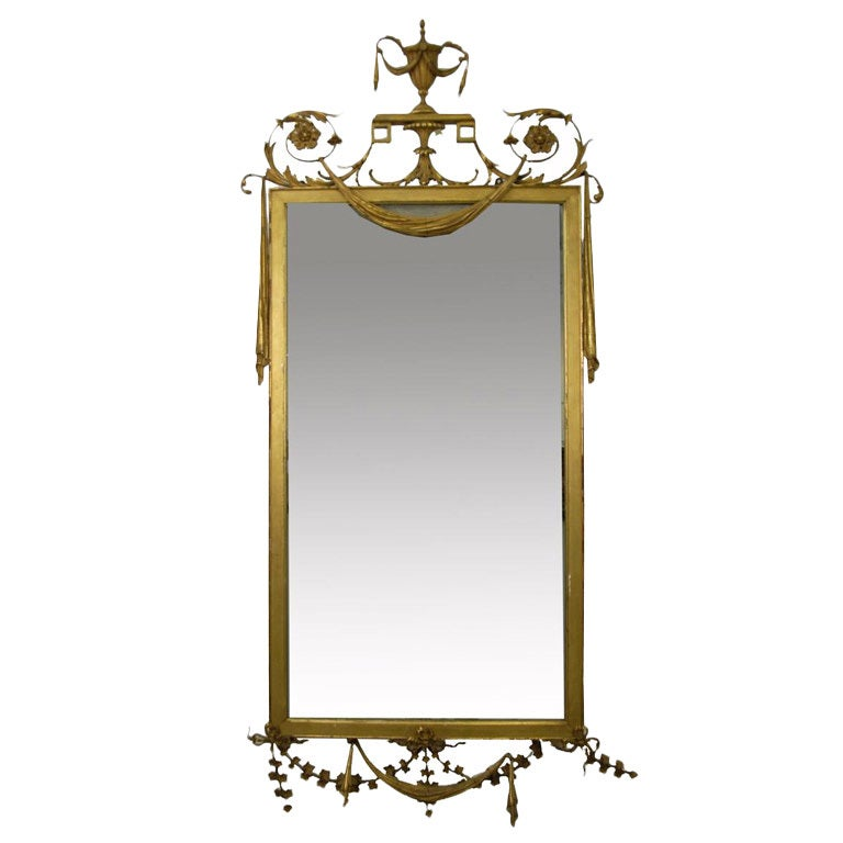 Neoclassical adam style gilt wood mirror at 1stdibs for Adam style mirror