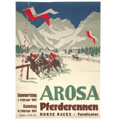 Vintage Swiss Equestrian Winter Horse Race Poster