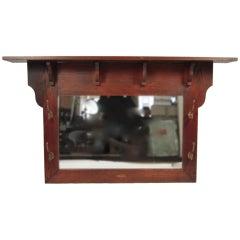 Architectural Arts & Crafts Period Mirror, Shelf  and Coat Rack
