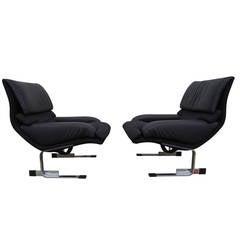 Pair of Onda Lounge Chairs by Giovanni Offredi for Saporiti Italia