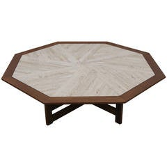 Walnut and Travertine Octagonal Coffee Table by Harvey Probber