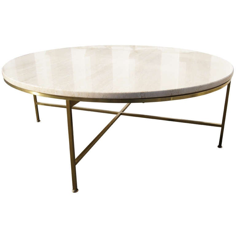 Travertine And Brass Coffee Table By Paul McCobb At 1stdibs