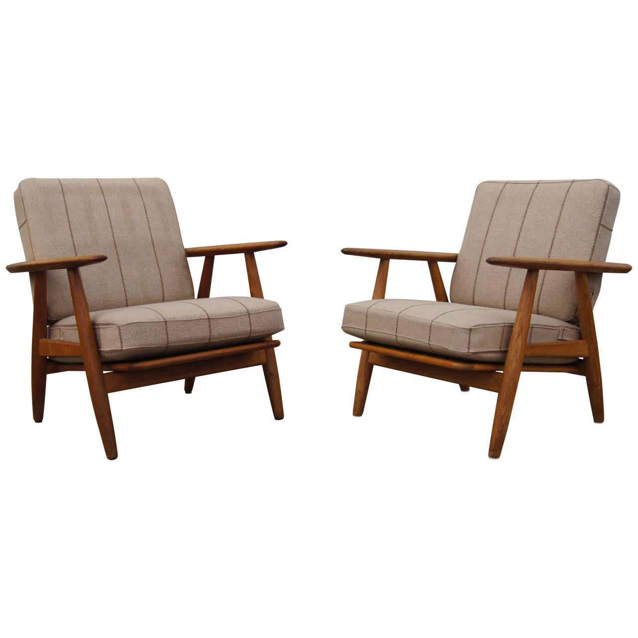 Pair of GE-240 Lounge Chairs by Hans Wegner for GETAMA