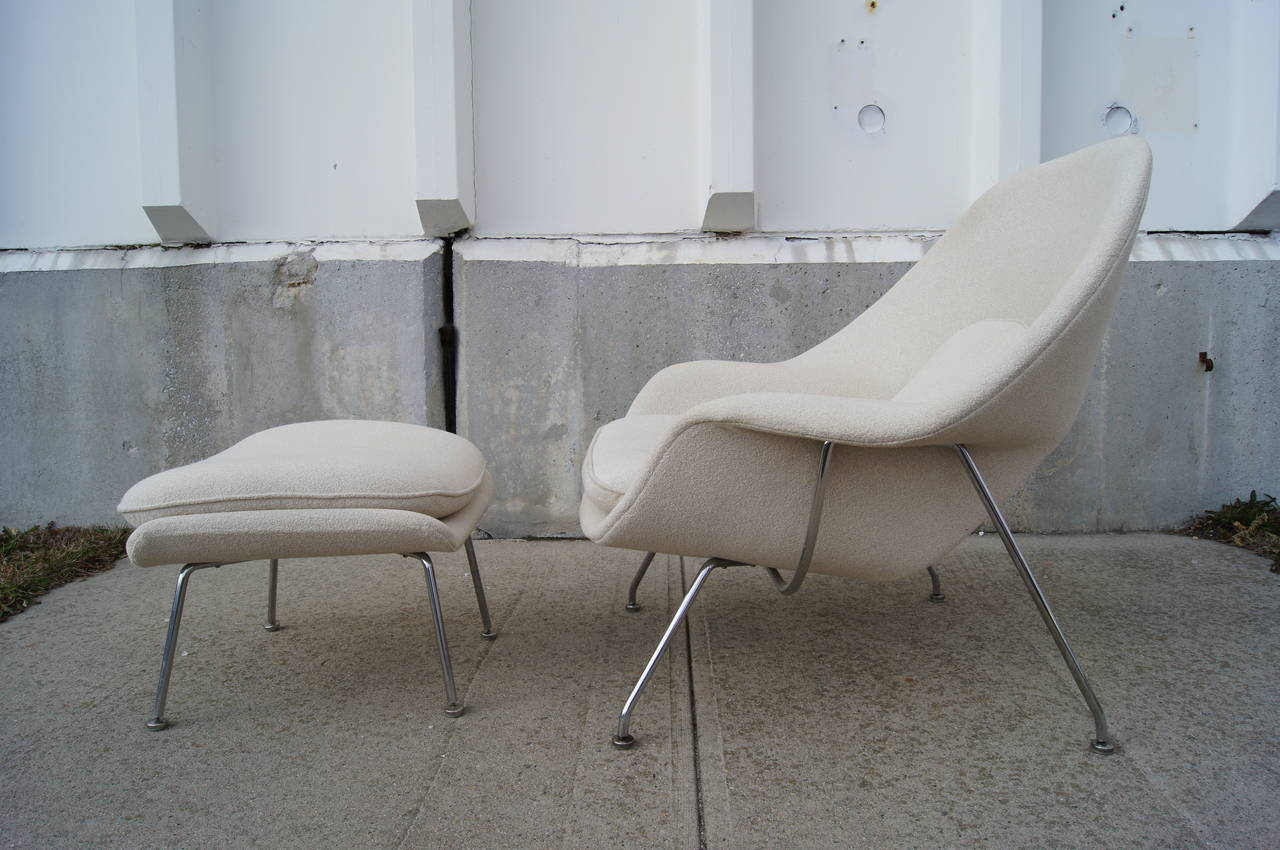 eero saarinen for knoll red leather womb chair and ottoman a