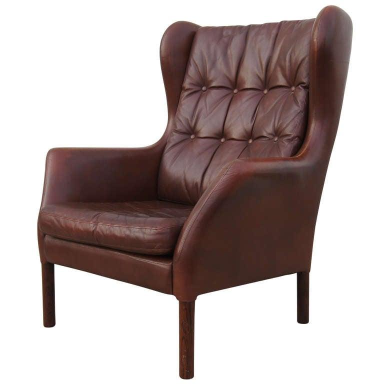 danish leather wingback chair 1