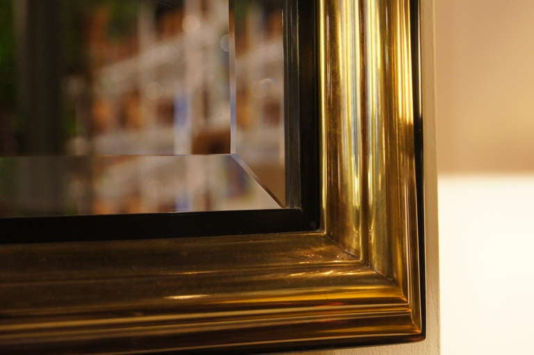 Acid-Etched Brass Mirror by Bernhard Rohne for Mastercraft For Sale 1