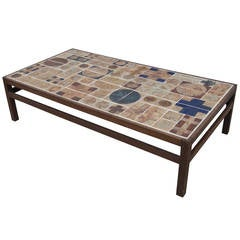 Coffee Table by Willy Beck with Ceramic Tile-Top by Tue Poulsen