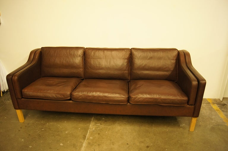 Brown Leather Sofa After Borge Mogensen At 1stdibs