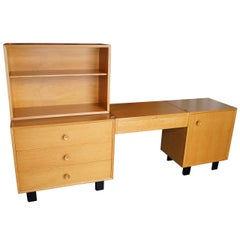 Oak Modular Storage Unit with Table by George Nelson for Herman Miller