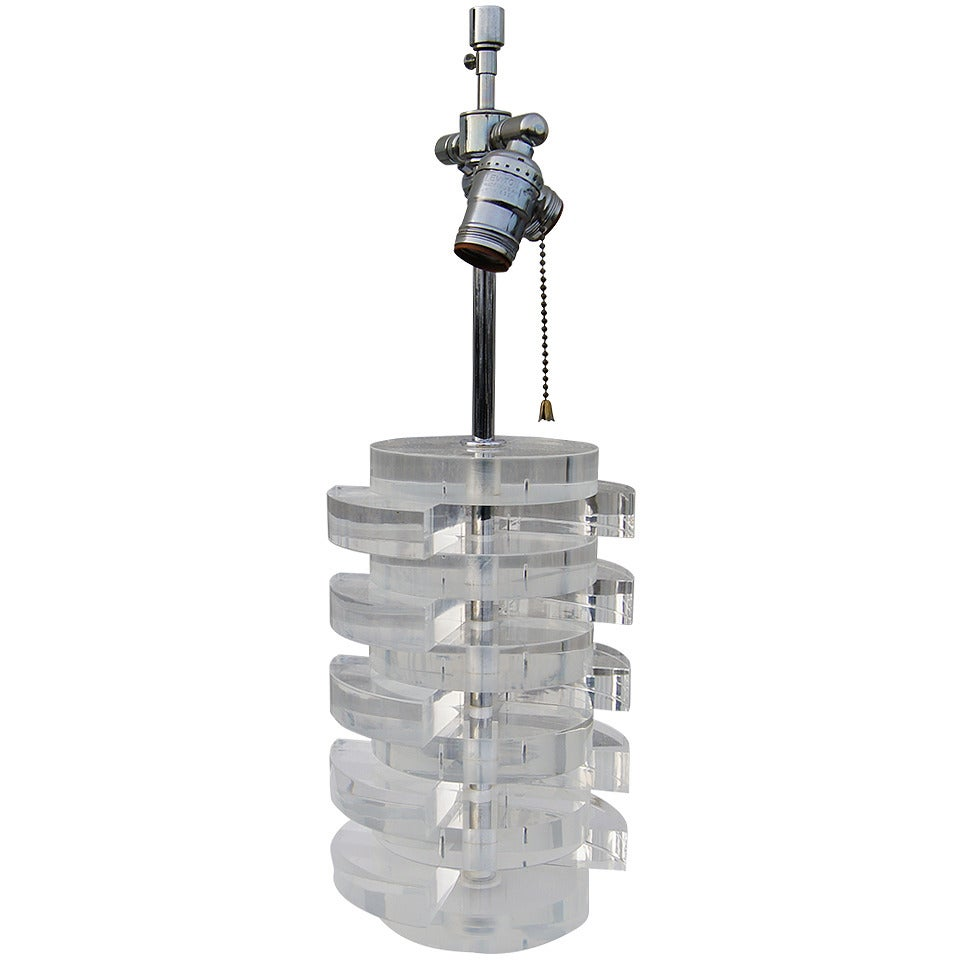 Stacked Lucite Table Lamp by Karl Springer