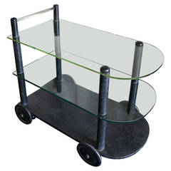 Ebonized Oak and Glass Tea Cart in the style of Gilbert Rohde