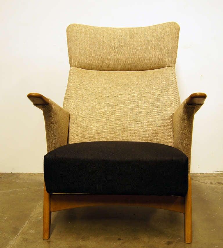 Scandinavian Modern Two Tone High Back Armchair By Arne Hovmand Olsen For  Alf