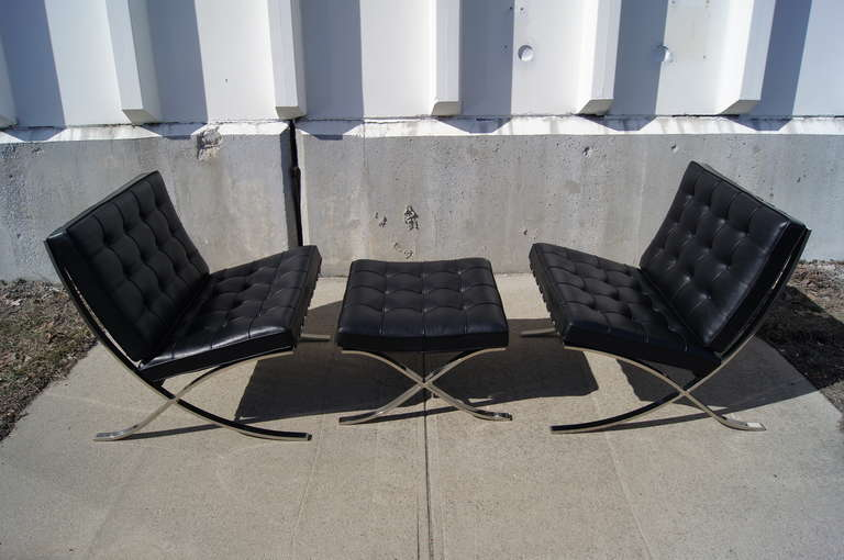 Mid Century Modern Pair Of Barcelona Chairs With Ottoman By Mies Van Der  Rohe For