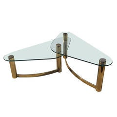 Double Brass and Glass Coffee Table by Pace Collection