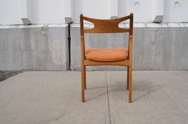 Upholstery Set of Six Oak Ch-29 Sawbuck Dining Chairs by Hans Wegner for Carl Hansen For Sale