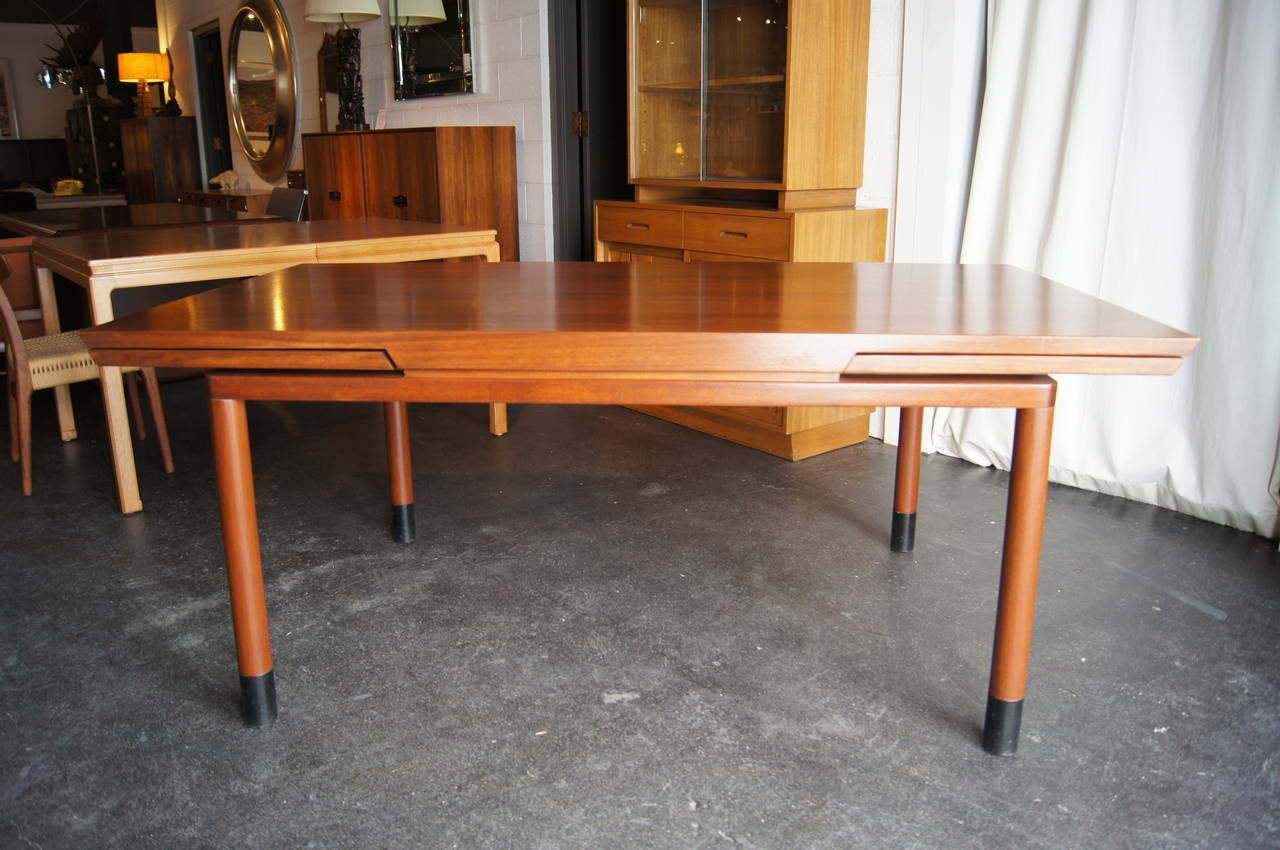 walnut extension dining table by edward wormley for dunbar