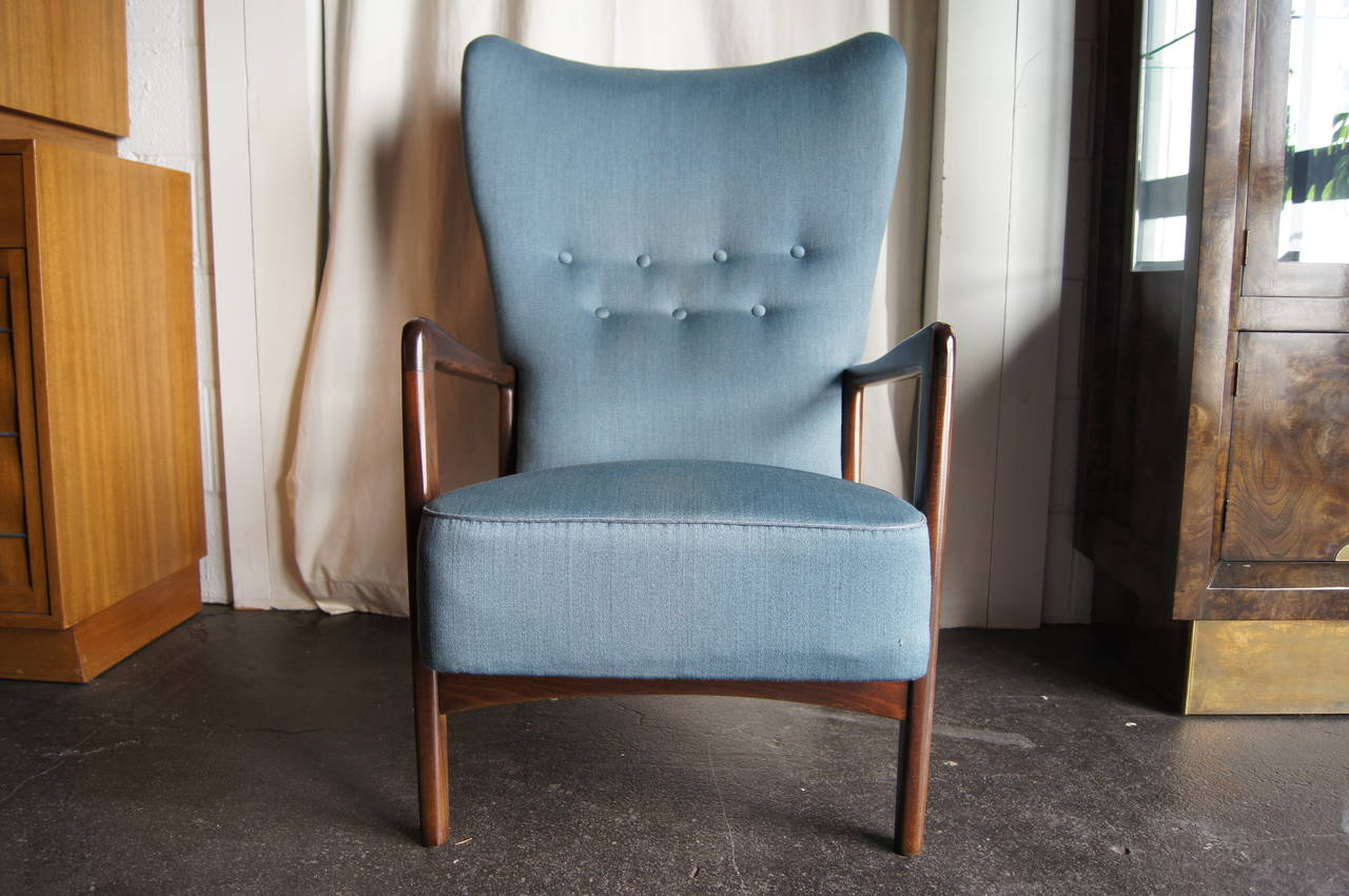 Mid Century Modern High Back Armchair By Fritz Hansen For Sale
