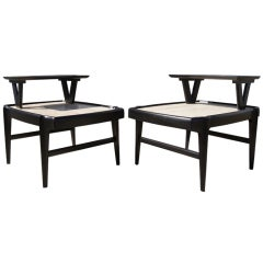 Pair of Tiered Travertine and Ebonized Wood Side Tables after Bertha Schaefer