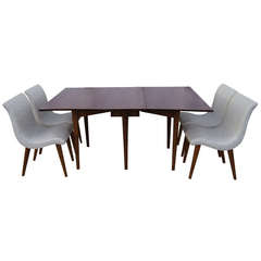 Drop-Leaf Dining Table with Four Chairs by Leslie Diamond for Conant Ball