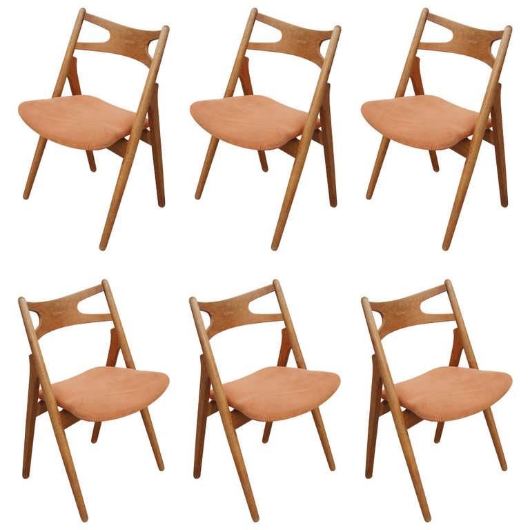 Set of Six Oak Ch-29 Sawbuck Dining Chairs by Hans Wegner for Carl Hansen