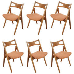 Set of Six Oak Ch-29 Sawbuck Dining Chairs by Hans Wegner for Carl Hansen