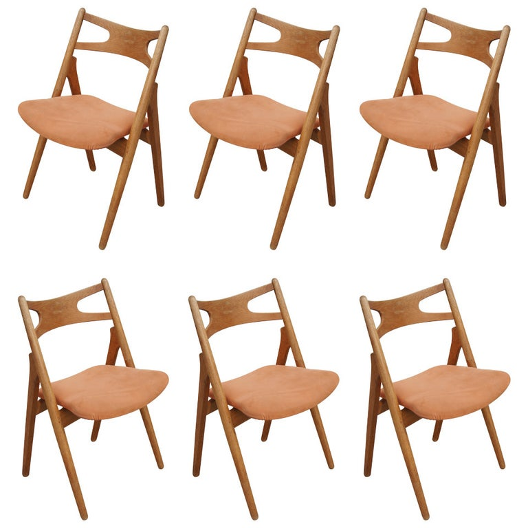 Set of Six Oak Ch-29 Sawbuck Dining Chairs by Hans Wegner for Carl Hansen For Sale